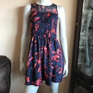 Guess Navy Blue Red Black Floral A-Line Mini Dress